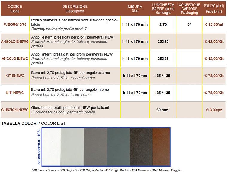 Profilo Perimetrale Per Balconi New - Colori Goffrato - Dettagli